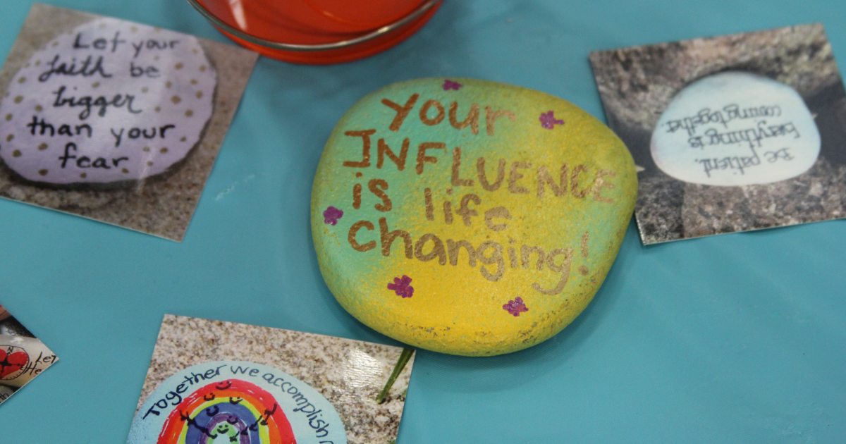 Rocks painted by young volunteers at Create the Change Day Boston 2016